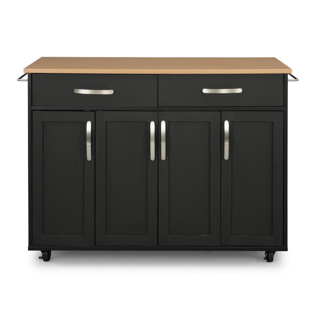 Storage Plus Black Kitchen Cart