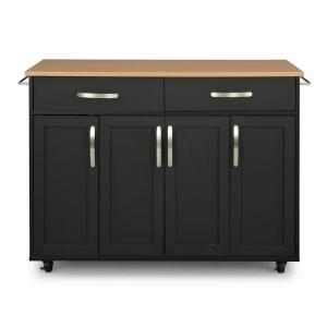 Brookshire Black Kitchen Cart with Natural Wood Top