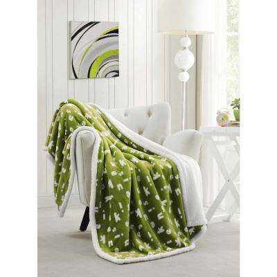 Mika Green Pea Sherpa Throw