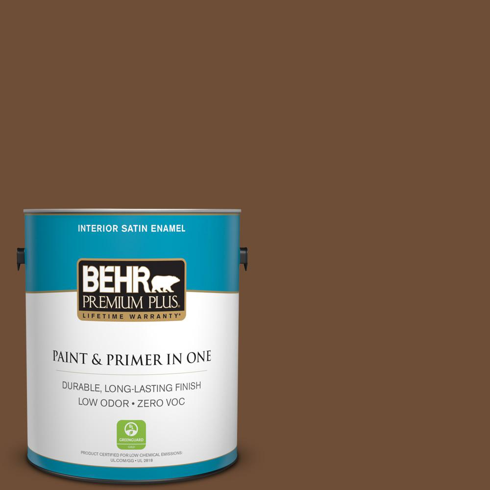 1 gal. #PPU4-20 Ancient Root Zero VOC Satin Enamel Interior Paint