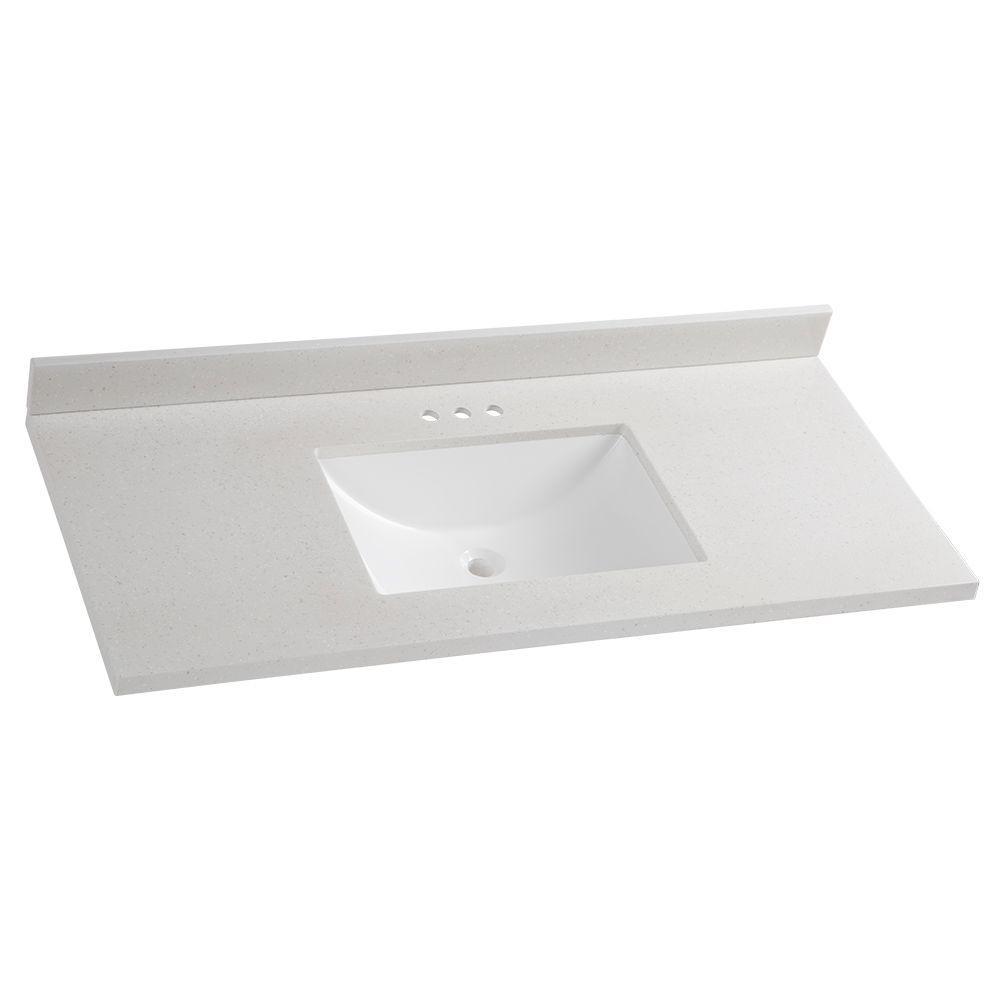 solid surface vanity tops Glacier Bay 49 in. W x 22 in. D Solid Surface Vanity Top in  solid surface vanity tops