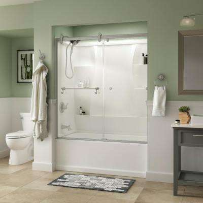 Portman 60 in. x 58-3/4 in. Semi-Frameless Contemporary Sliding Bathtub Door in Nickel with Clear Glass