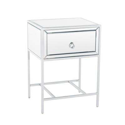 Inka Mirrored Single Drawer Side Table