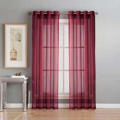 L Grommet Curtain Panel Pair Burgundy Set Of