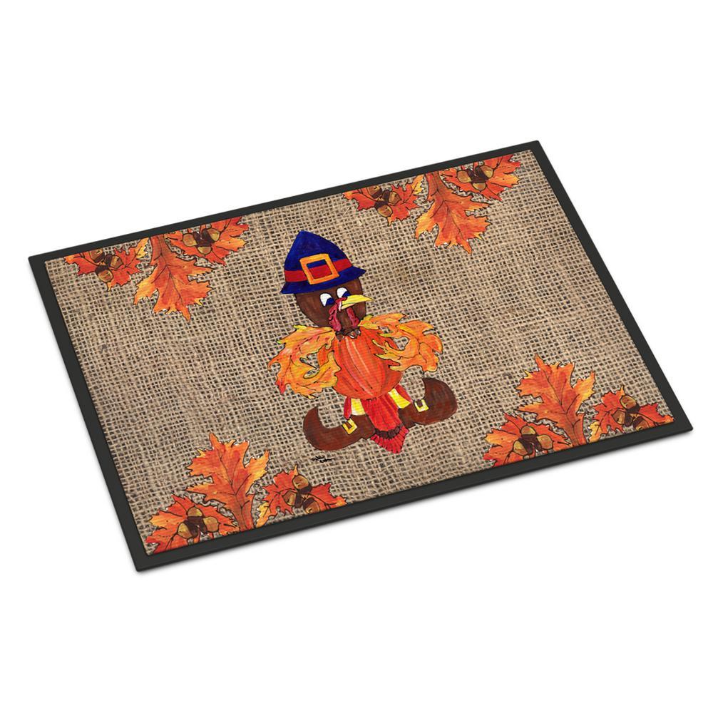 Caroline's Treasures 18 in. x 27 in. Indoor/Outdoor Thanksgiving Turkey Pilgrim Fleur de lis Door Mat