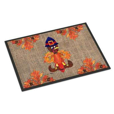 18 in. x 27 in. Indoor/Outdoor Thanksgiving Turkey Pilgrim Fleur de lis Door Mat