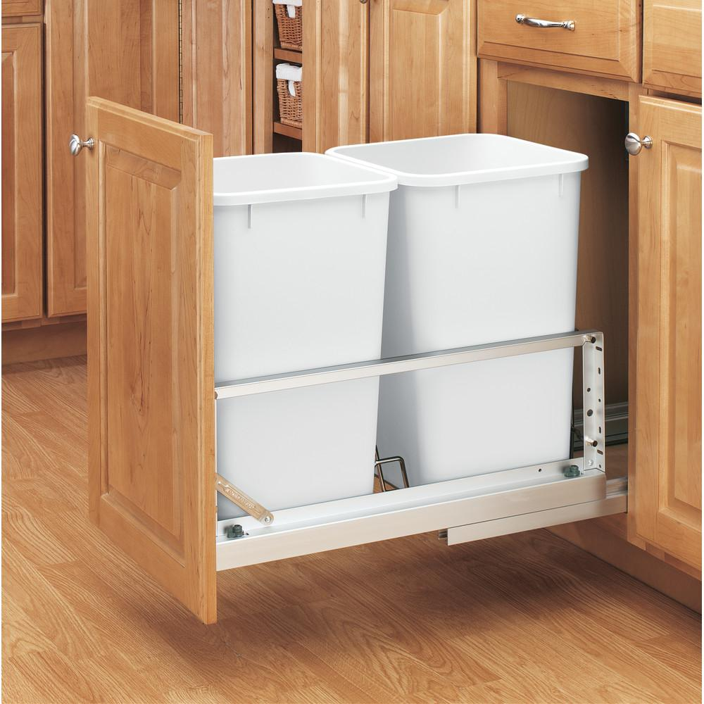 Rev-A-Shelf 18.94 in. H x 11.69 in. W x 22.25 in. D Double 27 Qt. Pull-Out Brushed Aluminum and White Waste Container