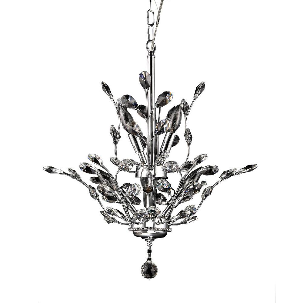 Leah Light Chrome Indoor Leaf Like Crystal Chandelier With Shade - Chandelier leaves crystals