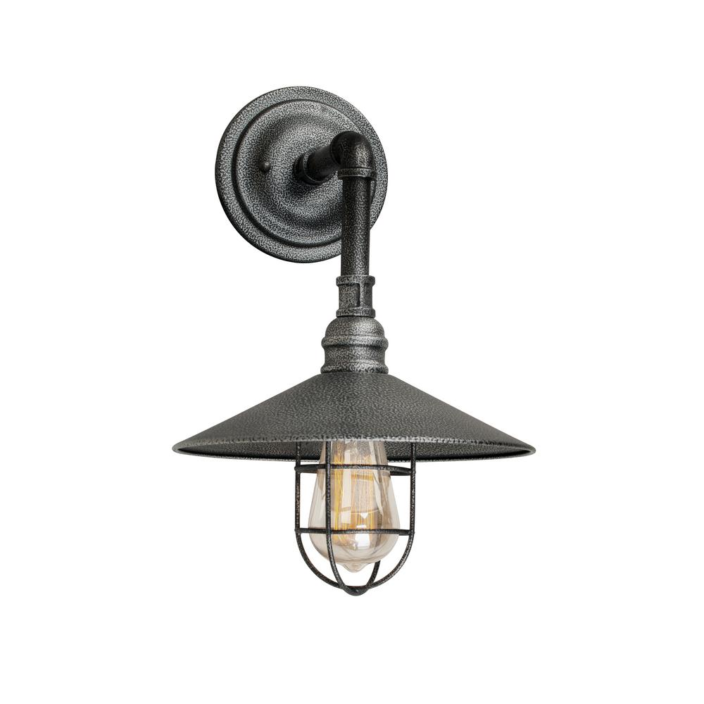 Forte Lighting 1-Light Industrial Gray Outdoor Wall Lantern Sconce