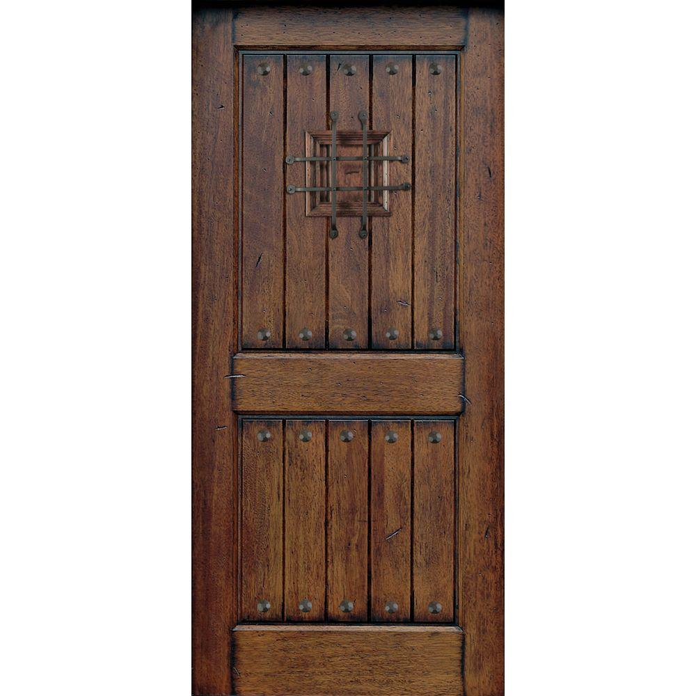 null 32 in. x 80 in. Rustic Mahogany Type Prefinished Distressed V-Groove Solid Stained Wood Speakeasy Front Door Slab