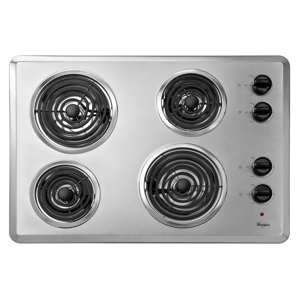 Coil Electric Cooktop In White With 4 Elements Wcc31430aw The Home Depot