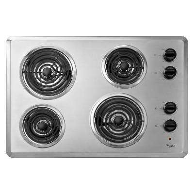 30 in. Coil Electric Cooktop in Chrome with 4 Elements