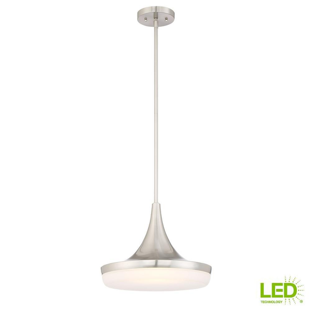 60-Watt Equivalent 14 in. Brushed Nickel Integrated LED Mini Pendant