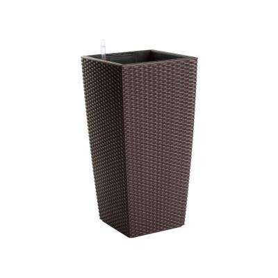 Modena 22 in. Square Mocha Rattan Plastic Self Watering Planter