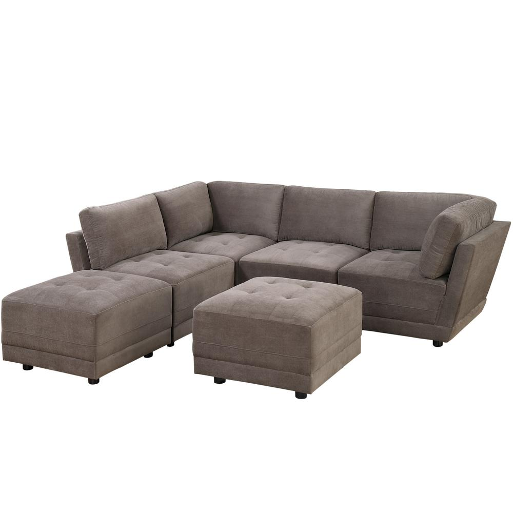 Venetian Worldwide 6 Piece Charcoal Microfiber 6 Seater L Shaped Modular Sectional Sofa V 803 6pc The Home Depot