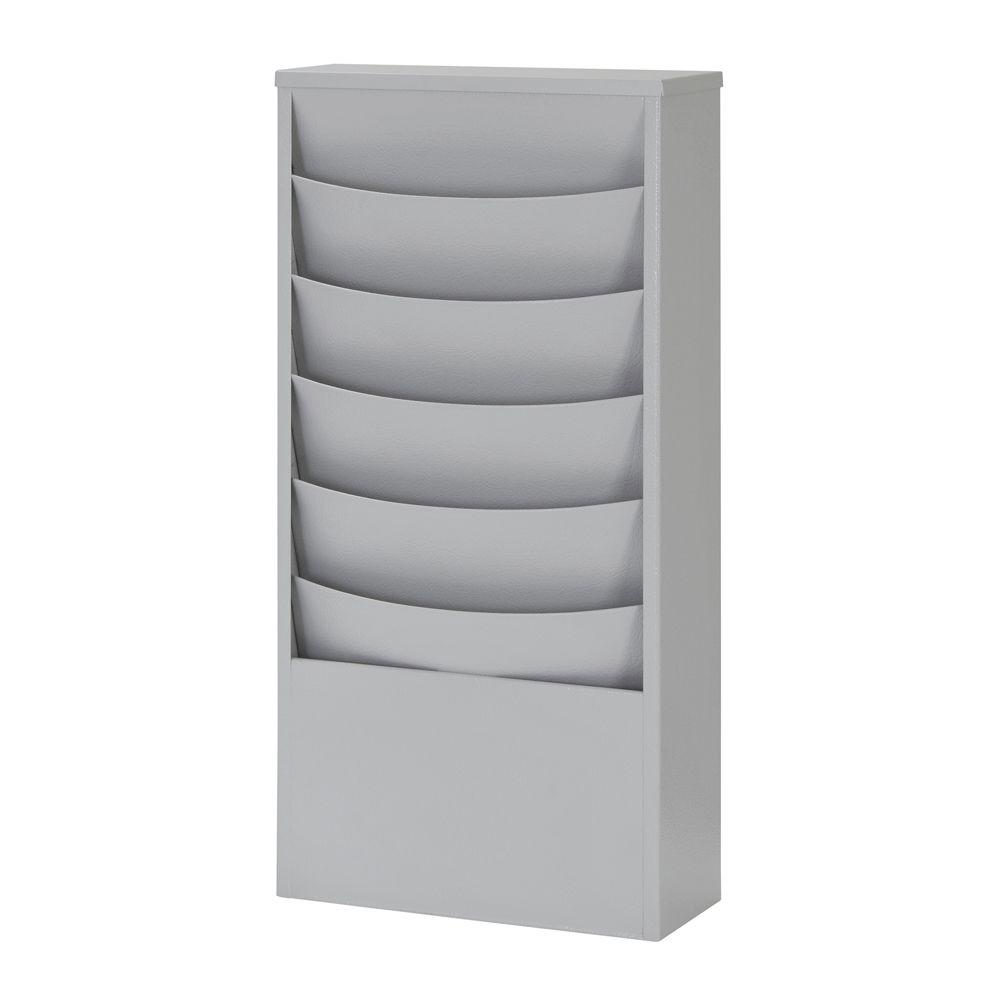 Eclipse 5-Pocket Curved Steel Literature Rack in Platinum