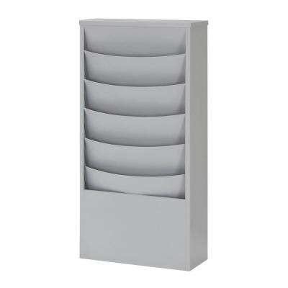 Eclipse 5-Pocket Curved Steel Literature Rack in Platinum