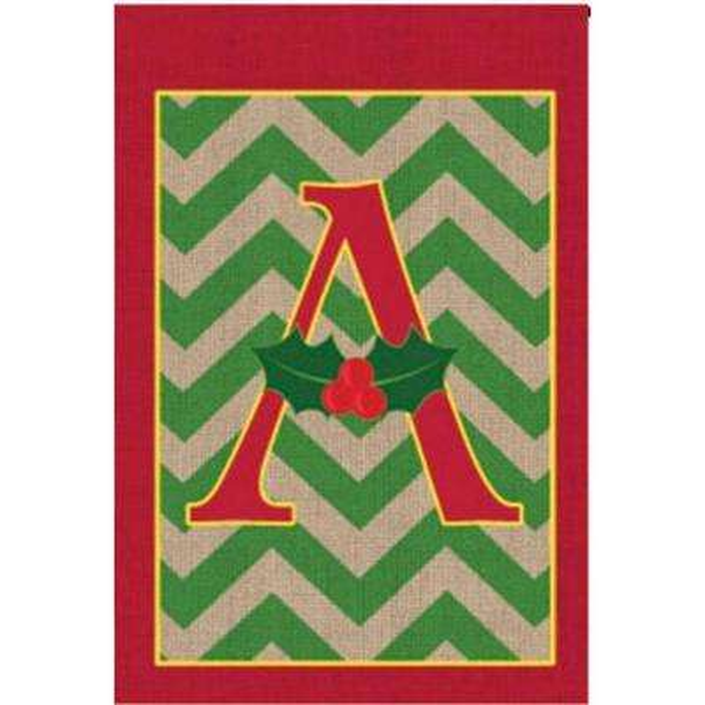 1 ft. x 1.5 ft. Monogrammed A Holly Burlap Garden Flag