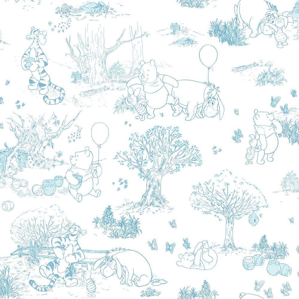 Walt Disney Kids Ii Pooh And Friends Toile Wallpaper