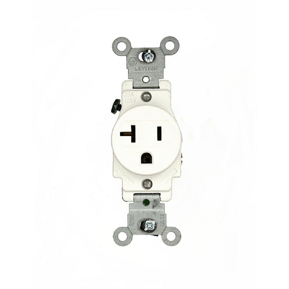 Leviton 20 amp commercial grade double pole single outlet for Bathroom 15 or 20 amp