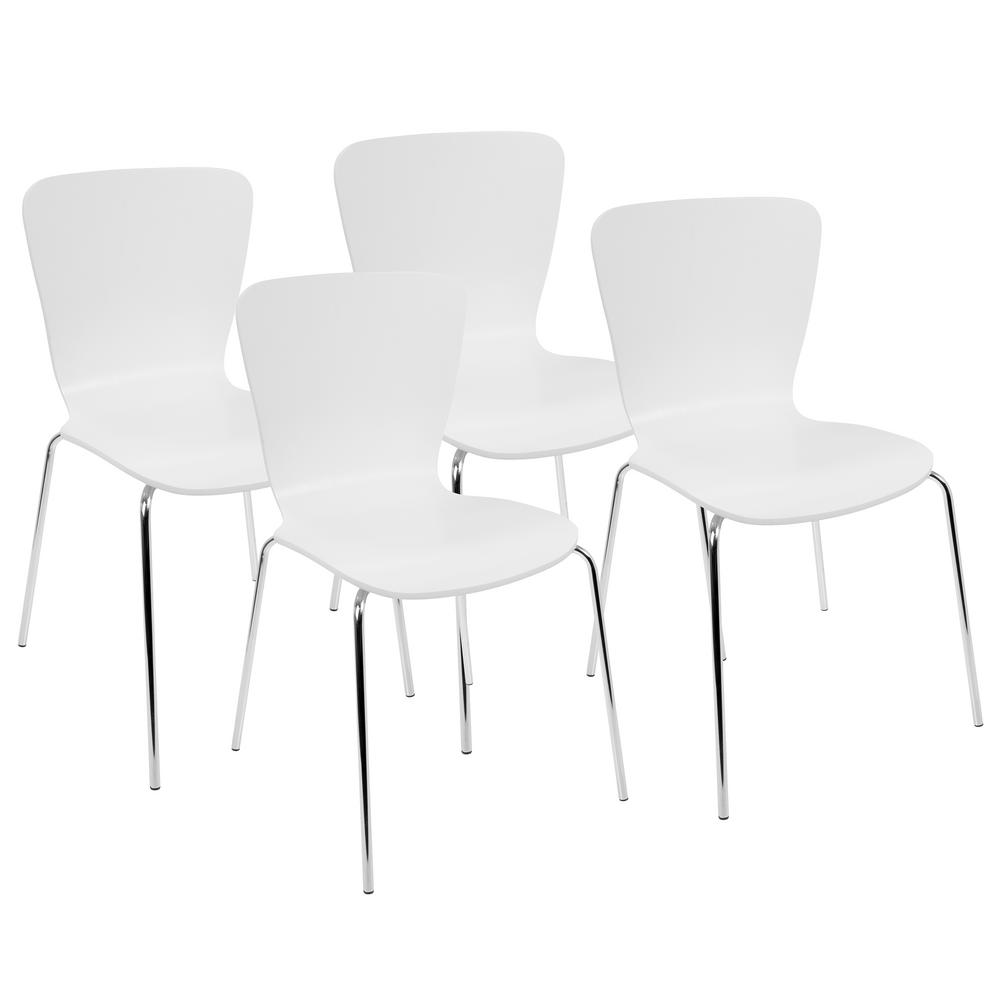 Lumisource Woodstacker White And Chrome Contemporary Dining Chair Set Of 4 Dc Tw Stak W4 The Home Depot