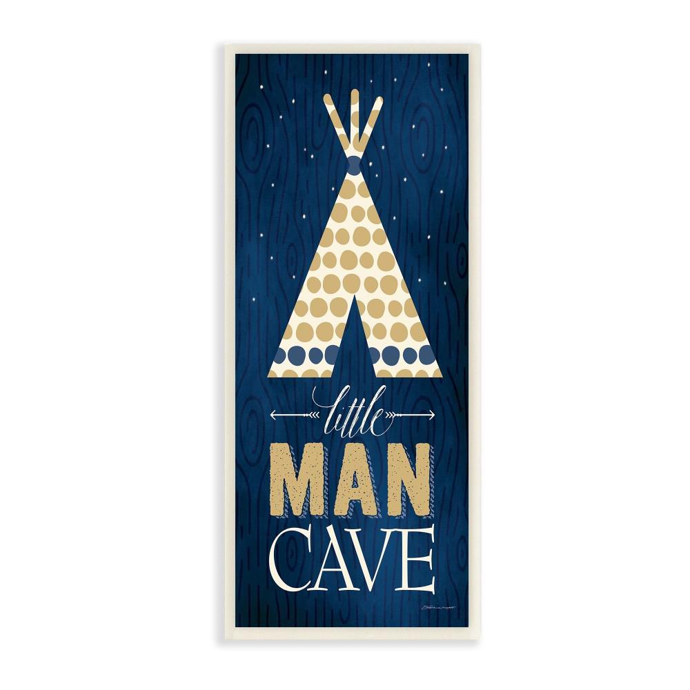 "7 in. x 17 in. ""Little Man Cave Tent Blue Wood Grain"" by Stephanie Workman Marrott Printed Wood Wall Art"