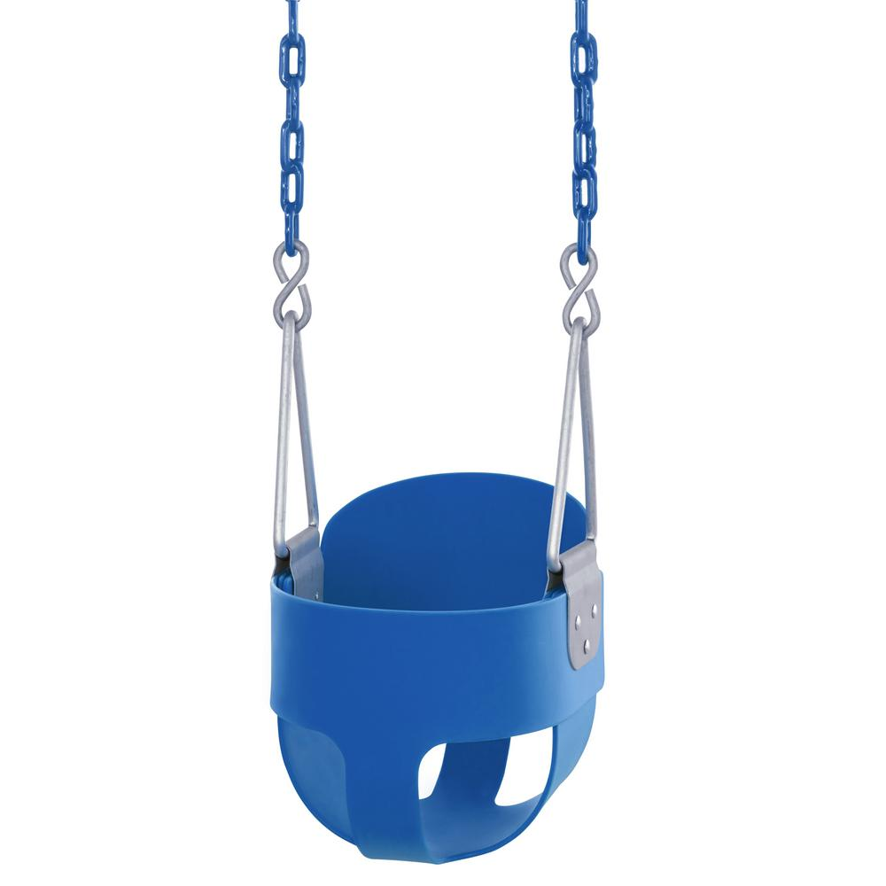 Outdoor Baby Swing >> Swingan High Back Full Bucket Toddler And Baby Swing With Vinyl Coated Chain Fully Assembled In Blue