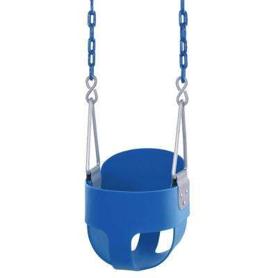 High Back Full Bucket Toddler and Baby Swing with Vinyl Coated Chain Fully Assembled in Blue