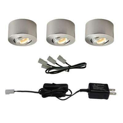 LED Sandblasted Aluminum Under Cabinet Mini Puck Light (3-Pack)