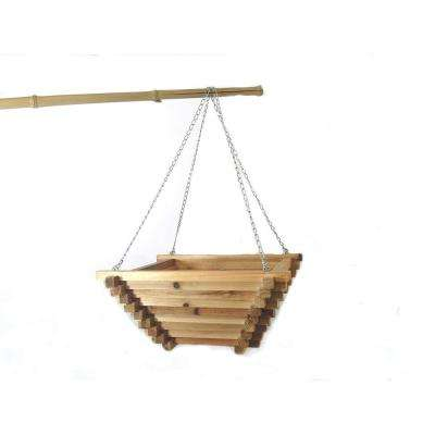 18 in. W x 7 in. H Light Brown Cedar Wood Square Pyramid Shaped Hanging Basket