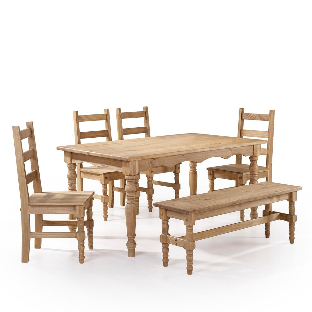 Manhattan Comfort Jay 6 Piece Nature Solid Wood Dining Set With 1 Bench,