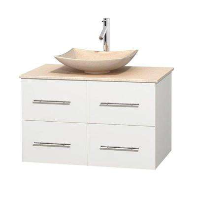 Centra 36 in. Vanity in White with Marble Vanity Top in Ivory and Sink