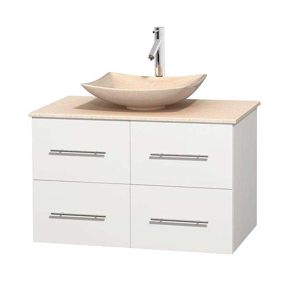 Wyndham Collection Centra 36 in. Vanity in White with Marble Vanity Top in Ivory and Sink