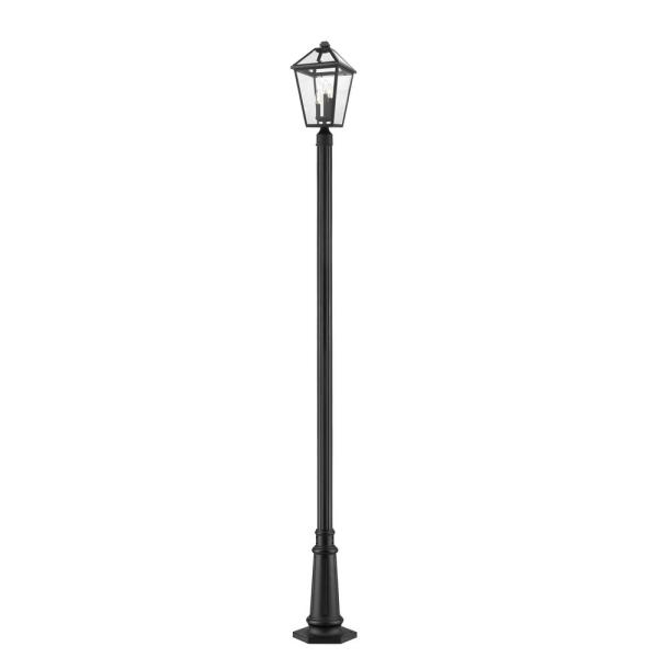 3-Light Black Outdoor Post Mount with Clear Beveled Glass