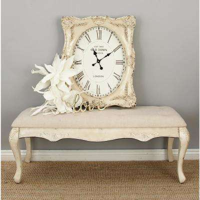 White Victorian Cushioned Bench