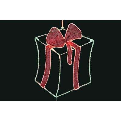 28 in. Pre-Lit 2-D LED Gift Box Decoration