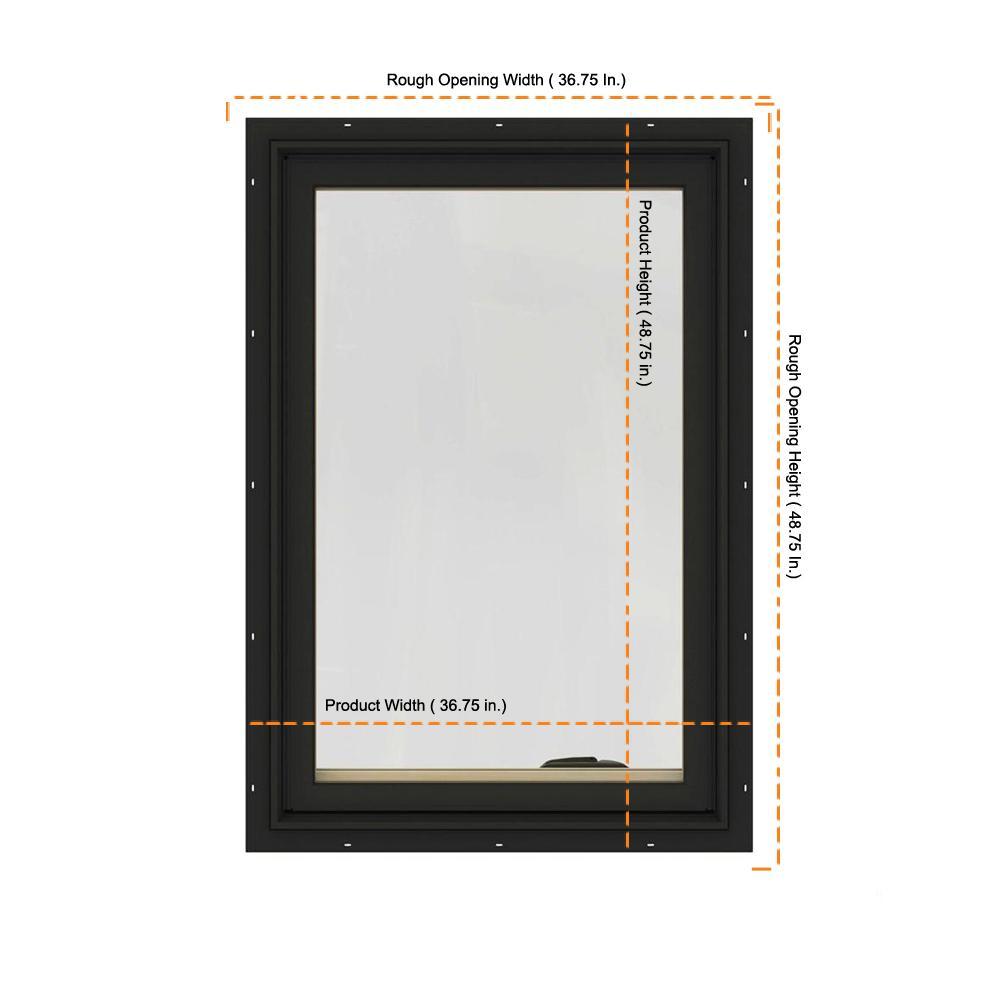Jeld Wen 36 75 In X 48 75 In W 2500 Series Bronze Painted Clad Wood Left Handed Casement Window With Bettervue Mesh Screen Thdjw140100163 The Home Depot