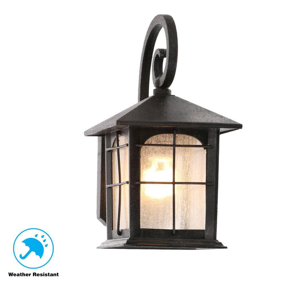 Brimfield 1-Light Aged Iron Outdoor Wall Lantern
