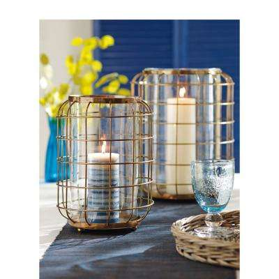 Oxidized Brass Wire and Clear Glass Large Hurricane Candle Holder