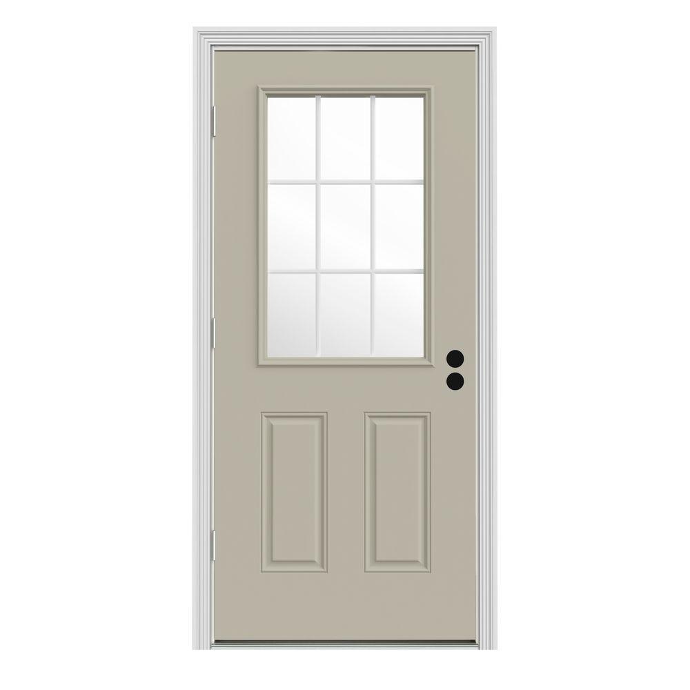 JELD-WEN 34 in. x 80 in. 9 Lite Desert Sand Painted Steel Prehung Right-Hand Outswing Front Door w/Brickmould