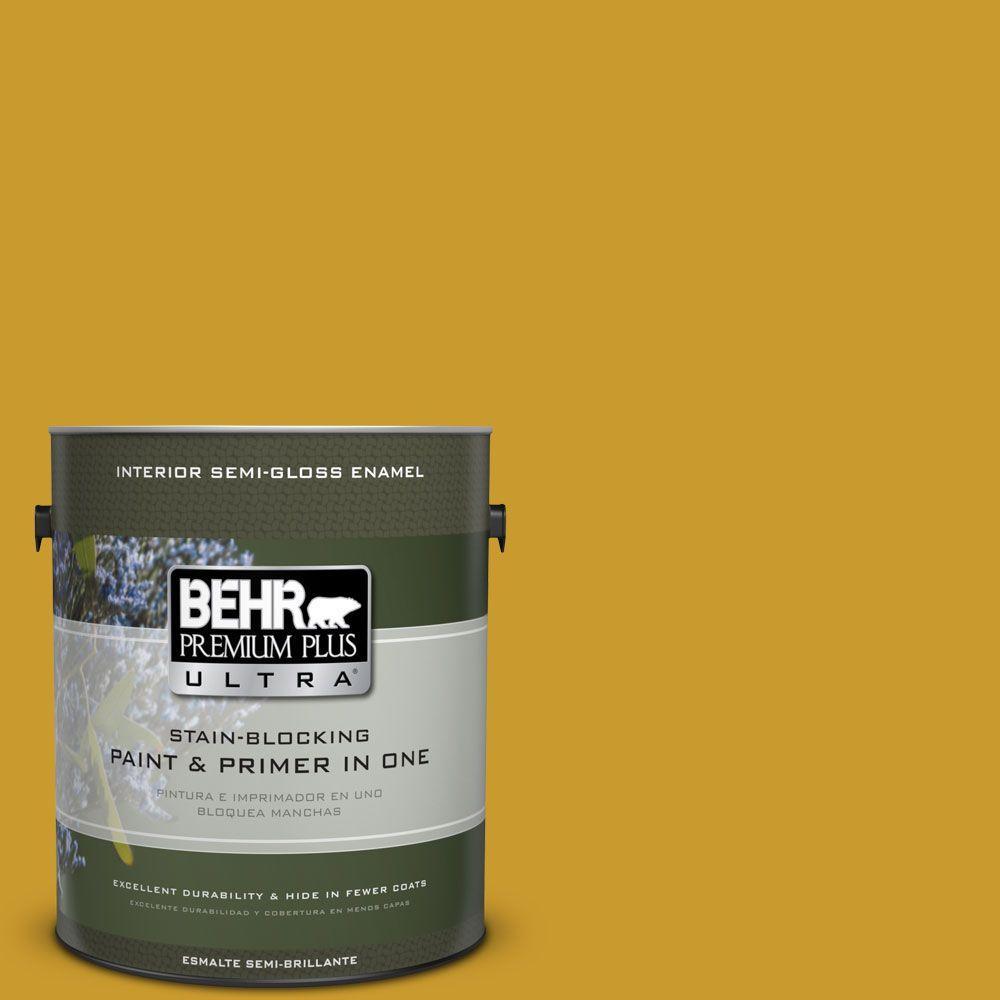 1 gal. #T16-09 Citronne Semi-Gloss Enamel Interior Paint