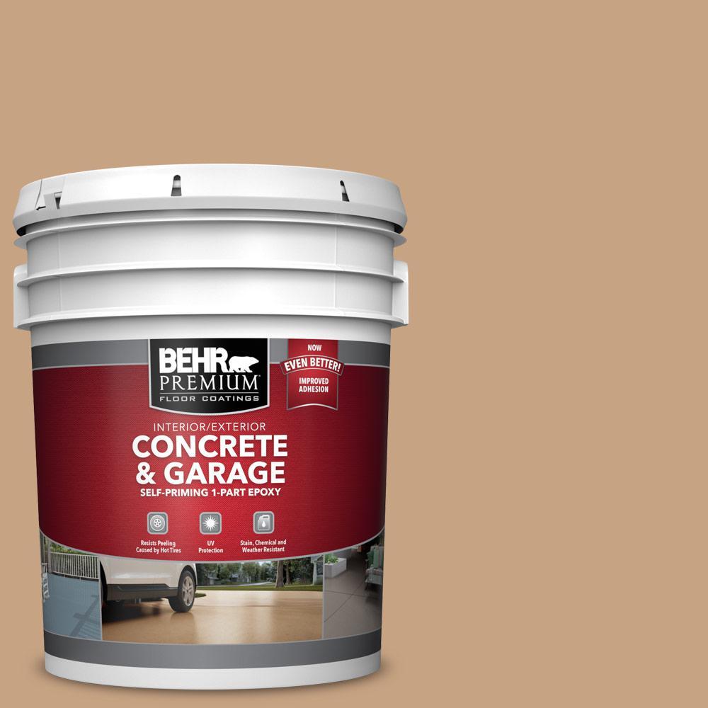 5 gal. #S260-4 Pelican Tan 1-Part Epoxy Satin Interior/Exterior Concrete and Garage Floor Paint