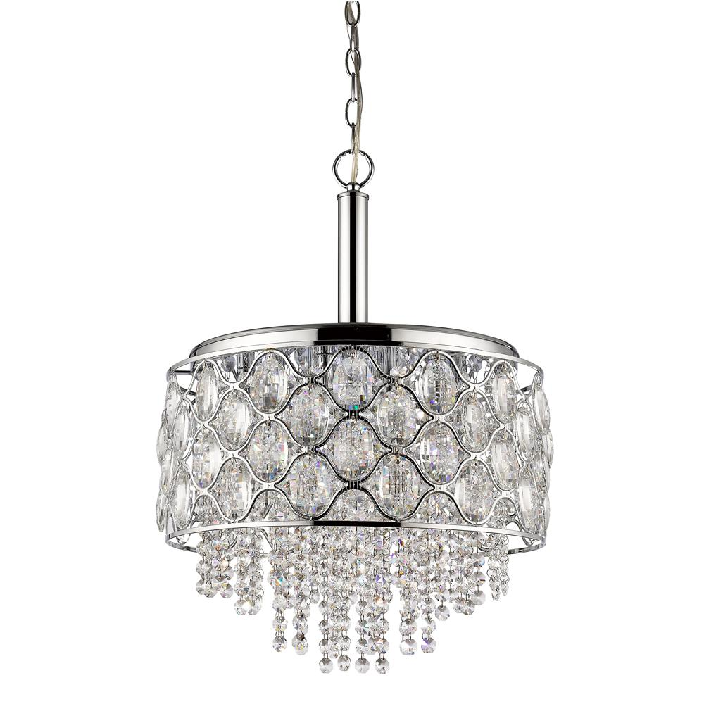 Acclaim Lighting Isabella Indoor 6-Light Polished Nickel Chandelier with Crystal Strands ...