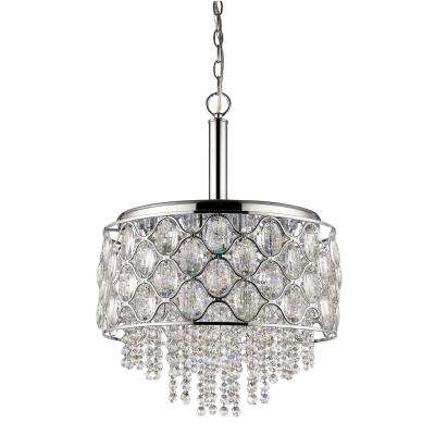Isabella Indoor 6-Light Polished Nickel Chandelier with Crystal Strands