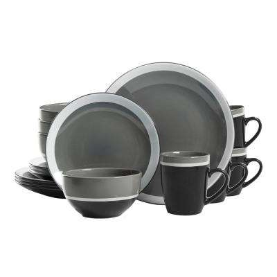 Color Eclipse 16-Piece Gray Dinnerware Set