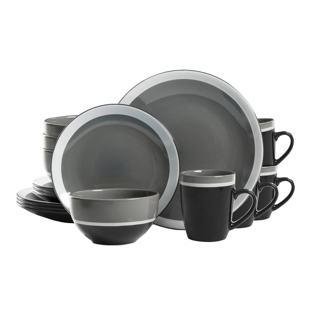 Color Eclipse 16-Piece Gray Dinnerware Set