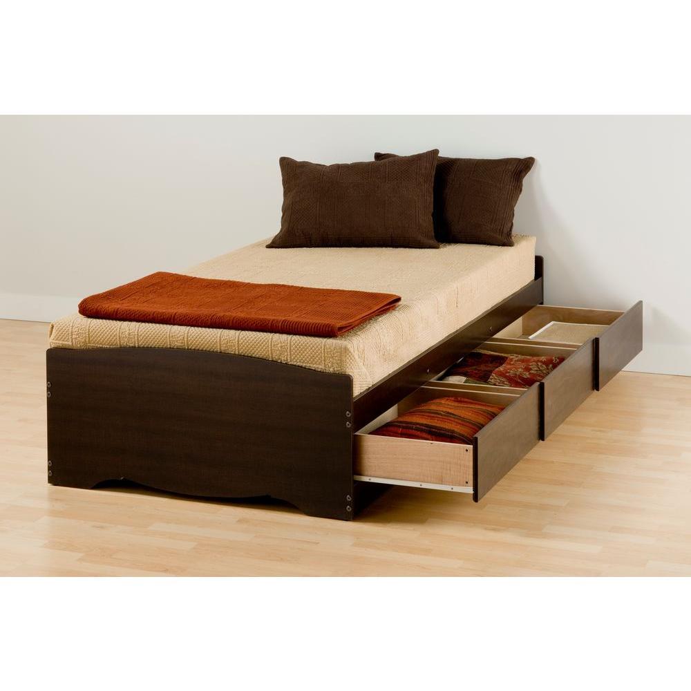 Prepac Twin Xl Wood Storage Bed Brown Fremont