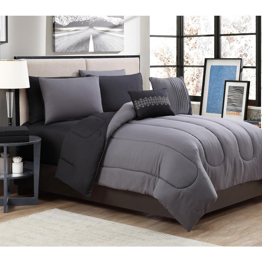 GENEVAHOMEFASHION Geneva Home Fashion 9-Piece Solid Grey/Black King Bed in a Bag Set