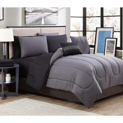 Solid 9-Piece Gray/Black King Bed in a Bag