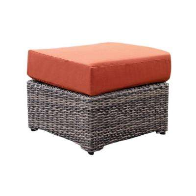 Cherry Hill Patio Ottoman with Canvas Brick Cushion